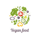 Vegan food icon. Logo design vector template. Circle shape of Food Logotype concept icon. on white stock illustration