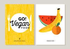 Vegan food illustration designs for healthy eating Royalty Free Stock Image
