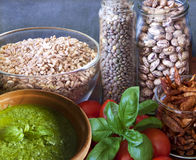 Vegan food, legumes and vegetables Stock Photos