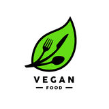 Vegan food logo with leaf, fork, knife and spoon icon. Stock Photos