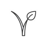 Vegan food logo line icon. Outline vector sign, linear style pictogram isolated on white. Sprout symbol, logo illustration. Editable stroke. Pixel perfect royalty free illustration