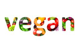 Vegan food, multi-colored text cut out of vegetables photo, the inscription on white background vector illustration