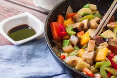 Vegan food on pan royalty free stock images