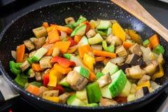 Vegan food on pan royalty free stock photos