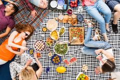 Vegan food and picnic concept. Vegan food, holidays, leisure and people concept, top view of happy friends having picnic outdoors relaxing lying on plaid blanket Stock Images
