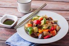 Vegan food on plate stock photos