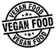 Vegan food round grunge stamp. Vegan food round grunge black stamp vector illustration