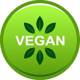 Vegan food seal button logo. Vector illustration on isolated background Royalty Free Illustration