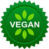 Vegan food seal button logo. Vector illustration on isolated background Stock Illustration