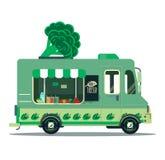Vegan food. Street food van. Truck illustration Stock Photo