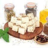 Vegan Food with Tofu Bean Curd stock images