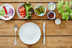 Vegan foodie salad bar ready to prepare a snack.  Stock Images