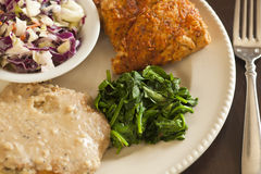 Vegan fried chicken substitute served with slaw, mashed potatoes. And greens Stock Photo