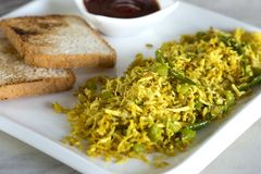 Vegan friendly tofu scramble. Tofu scramble is a popular snack and quick breakfast with tofu. This is a vegan and vegetarian snack Stock Image