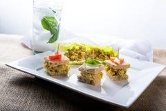 Vegan Garbanzo appetizers. Vegan Garbanzo sandwich appetizers and lettuce wrap. Vegetarian Food Royalty Free Stock Photos