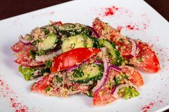 Vegan Georgian salad. With vegetables royalty free stock photography