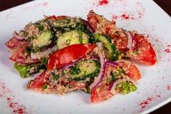 Vegan Georgian salad. With vegetables royalty free stock photo
