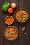 Vegan Goulash with Soy Meat. Vegan goulash made of soy meat (textured vegetable protein), capsicum, tomato and onion served in rustic bowls, paprika powder royalty free stock image