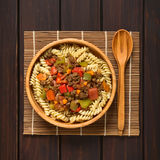 Vegan Goulash with Soy Meat on Pasta Stock Photography