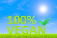 100% VEGAN. Green grass landscape background 3d illustration Stock Image