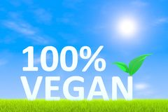 100% VEGAN. Green grass landscape background 3d illustration Royalty Free Stock Photo