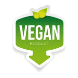 Vegan green label with leaves. Vector Stock Photo
