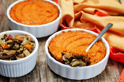 Vegan green lentil mushroom sweet potato Shepherds pie Royalty Free Stock Images