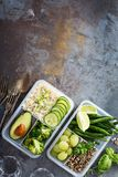 Vegan green meal prep containers with rice and vegetables. Vegan green meal prep containers with quinoa, rice, avocado and vegetables overhead shot with copy royalty free stock photography