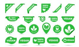 Vegan green stickers set for vegan product shop tags, labels or banners and posters. Vector vegan sticker icons templates set. Vegan green stickers set for vegan royalty free illustration