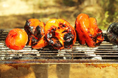 Vegan grill in a forest. Red pepers on a grill Royalty Free Stock Image