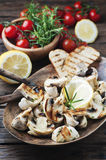 Vegan grilled mushroom with rosemary and lemon Stock Images