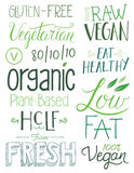 Vegan Hand drawn Text Elements. Plant Based Lifestyle Hand drawn type Stock Photography