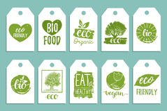 Vegan, healthy food cards or tags set for cafe,restaurant, packaging etc. Vector eco, organic signs with hand lettering. Vegan, healthy food cards or tags set Stock Photography