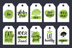 Vegan, healthy food cards or tags set for cafe,restaurant, packaging etc. Vector eco, organic signs with hand lettering. Vegan, healthy food cards or tags set Stock Photo