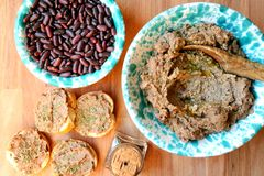 Vegan , healthy food: red beans pate for a healthy lunch Stock Photo