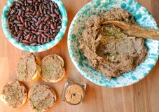 Vegan , healthy food: red beans pate for a healthy lunch Stock Image