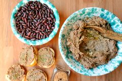 Vegan , healthy food: red beans pate for a healthy lunch Stock Images
