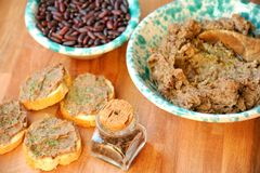 Vegan , healthy food: red beans pate for a healthy lunch Royalty Free Stock Images