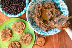 Vegan , healthy food: red beans pate for a healthy lunch Stock Photography
