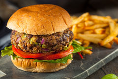 Vegan Homemade Portabello Mushroom Black Bean Burger Stock Photo