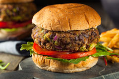 Vegan Homemade Portabello Mushroom Black Bean Burger Royalty Free Stock Photography