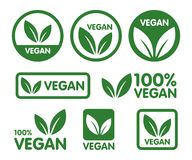 Vegan icon set. Bio, Ecology, Organic logos and icon, label, tag. Green leaf icon on white background. Vegan icon set. Bio, Ecology, Organic logos and badges stock illustration