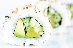 Vegan insideout rolls against white background Royalty Free Stock Photography