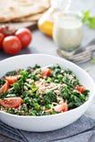 Kale and quinoa salad with tomatoes. Vegan kale and quinoa salad with tomatoes Royalty Free Stock Photos
