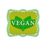 Vegan label. Vegan green label in vintage frame on a white background Stock Images