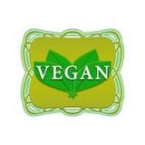 Vegan label. Vegan green label in vintage frame on a white background Stock Illustration