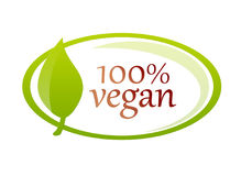 Vegan label guarantee with leaf. Vegan lifestyle badge with green leaf and guarantee of 100% vegan ingredients royalty free illustration