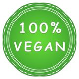Vegan label. 100 percent vegan green label on a white background Royalty Free Stock Image
