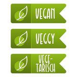 Vegan Label und Vegetarisch Banner Set. stock illustration