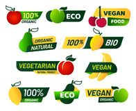 Vegan labels. Green eco food, healthy fresh organic products and vegetarian emblem label vector set royalty free illustration